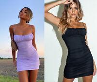 Women's Casual Cami Bodycon Mini Dress Evening Party Skirt Stretchy Summer Beach
