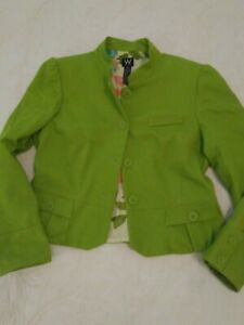 Vintage Women Olive Green Cotton Blazer Jacket  Sz 12 Top packets