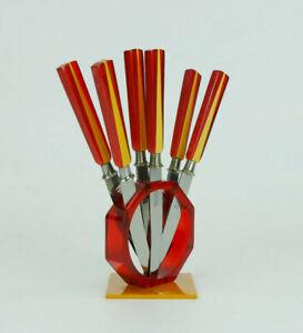 1930s art déco bakelite and lucite FRUIT KNIFE SET 6 solingen knives in stand