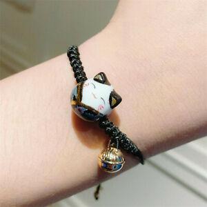 Feng Shui Lucky Ceramics Cat Maneki Neko Fortune Good Luck Wealth Bracelet Black