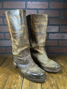 Vintage Distressed Frye Western Cowboy Brown Leather Boots MADE IN USA Size 8.5M