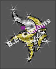 "Rhinestone Transfer ""Minnesota Vikings"" Hotfix , Iron On,"