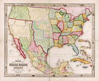MAP ANTIQUE DOOLITTLE MUNSON 1847 USA MEXICO LARGE REPLICA POSTER PRINT PAM0889