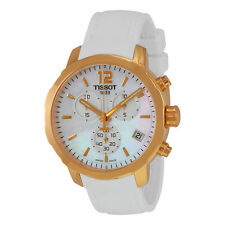 Tissot Quickster Chronograph Mother Of Pearl Dial White Silicone Mens Sports