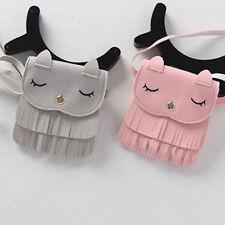 Children Girls Tassel Small Cat Shoulder Messenger Bag Mini PU Leather Wallet