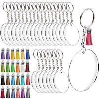 Acrylic Keychain Blanks, Transparent Round Acrylic Discs Circles, Colorful Ta w0