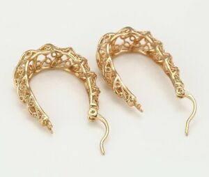 """9ct 9K Yellow """"GOLD FILLED"""" Ladies Lovely Creole HOOP EARRINGS. 34mm Gift,2230"""