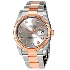 Rolex Datejust Silver Dial Diamond Steel and 18K Everose Gold Mens Watch