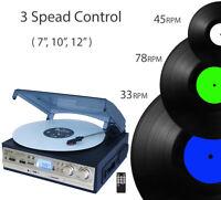 Boytone BT-17DJS-C, 6 IN1, 3 Speed Stereo Turntable 2 Built in Speakers AM/FM