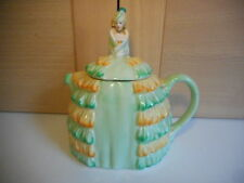 SADLER YE DAINTEE LADYEE ORANGE AND GREEN QUEEN MARY CRINOLINE LADY TEAPOT