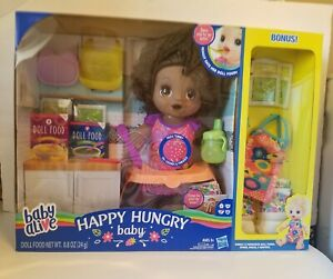 Baby Alive Happy Hungry Baby Black  Doll with 50 Sounds & Phrases plus Bonus NIB