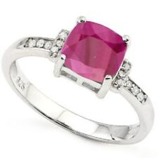 Diamond and Ruby Ring Genuine Sterling Silver 2.2 carats