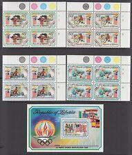 Liberia Sc 1151-1155 MNH. 1992 Olympics cplt, Traffic Light Sheet Corner Blocks