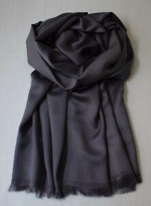 Edler Seidenschal für Herren, Dunkel Grau - Anthrazit, lässige Eleganz 100%Seide