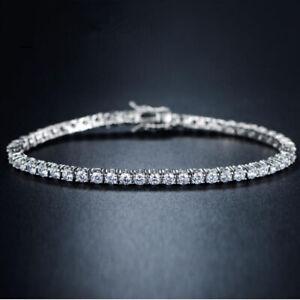 Wedding Jewelry 3MM Natural White Topaz Gems Silver Tennis Charming Bracelets
