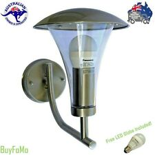 LED Coach Light Outdoor Modern Stainless Steel Wall Lantern + Free LED Globe