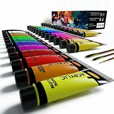 Acrylic Paint Set of Expert 36 Colors 22ml Tubes with 3 Paint Brushes Art Kits