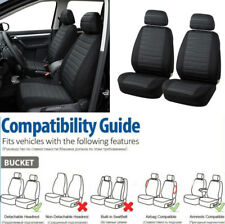 Car 2 Front Seats Cover Black+Grey Interior Accessories Durable Jacquard Cloth