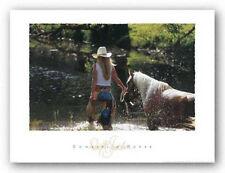 COWBOY ART PRINT - COWGIRL 'N HORSE David Stoecklein 32x24 Western River Poster