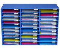 AdirOffice Blue Office Classroom File Paper Organizer 30 Slot Sorter, School