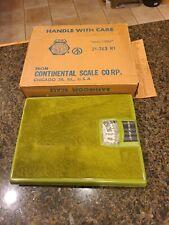 NOS Retro Continental Scale Corp Metal Green Shag Carpet Bathroom Scale