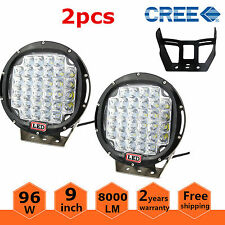 2x Black Round 9 96w Pods Led Driving Spot Work Light 4wd Off Road Vs Hid 100w