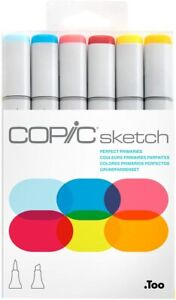 COPIC SKETCH MARKERS PERFECT PRIMARIES - 6 PIECE SET - NEW