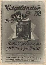 W0043 Macchina fotografica Voigtlander 9 x 12 - Pubblicità 1927 - Advertising