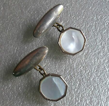 ART DECO VINTAGE CUFFLINKS 1920s 1930s 1940s AGED GOLDTONE MOTHER OF PEARL MOP