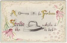 1900s Rebus Word Puzzle Good Fortune Embossed Postcard