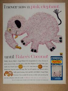 1962 Baker's Coconut Pink Elephant Cut-up Cake vintage print Ad
