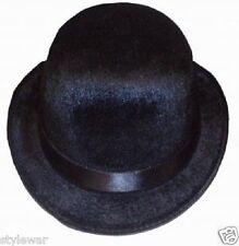 NEW BLACK FELT VELOUR BOWLER HAT CHARLIE CHAPLIN VICTORIAN COSTUME FANCY DRESS