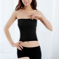 Womens Plain Tube Top Strapless Bandeau Stretch Vest Bra Crop Top Seamless