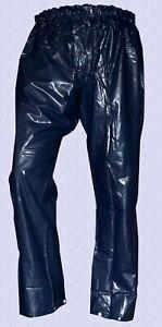 UNISEX praktische glänzende PVC Regenhose blau wasserdicht Gr. XL