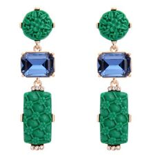 SAPPHIRE BLUE EMERALD GREEN Carved Resin Flower Crystal Rhinestone Gold Earrings