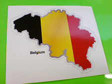 BANDIERA Belgio & Mappa Casco Moto Auto Van Paraurti Adesivo Decalcomania 1 Largo 80mm