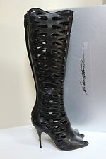 New sz 9.5 / 39.5 Brian Atwood Electra Black Leather Cutout Knee High Boots Shoe