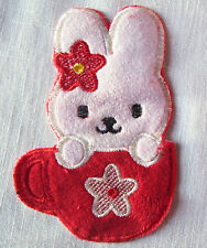 ÉCUSSON PATCH BRODÉ thermocollant - LAPIN KITTY NOEUD Rouge Tasse - 8 x 13 cm