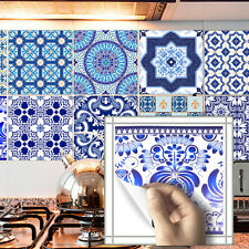 Blue Mosaic PVC Waterproof Self adhesive Kitchen Tile Sticker Home Wall Decor