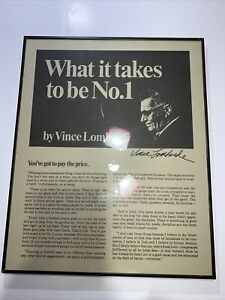 """Vince Lombardi """"WHAT IT TAKES TO BE NUMBER ONE"""" Framed Print- EXCELLENT🔎23""""x19"""""""