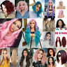 Women Ombre Pink Purple Red Black Long Full Wavy Curly Hair Wigs Cosplay