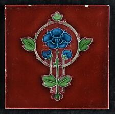 Jugendstil Fliese Blütenmotiv blau/dunkelrot vermutlich aus England -B5-