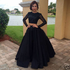 2018 Two Piece Crystal Beaded Long Sleeve Formal Evening Prom Dresses Custom