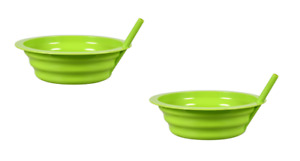 2 Pack Green Sip-A-Bowls Cereal Ice Cream Bowl with BUILT-IN STRAW Kids BPA-FREE