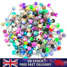 20 Tongue Bars 10x STEEL 10x ACRYLIC Barbell Body Piercing Jewellery Tragus Ball