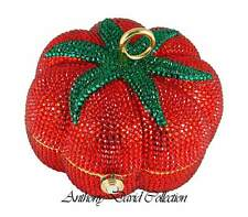 Anthony David Red Tomato Gold Metal Crystal Evening Bag with Swarovski Crystals