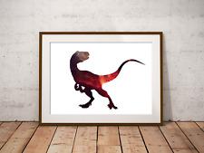 Velociraptor Art Print, Galaxy Dinosaur Filled Silhouette, T-Rex, Jurassic Park