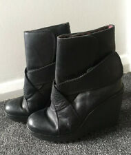 Fly London Leather Black Wedge Ladies Ankle Boots 38 5