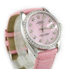 Rolex 1500 Oyster Perpetual Date MOP Diamond Dial & Diamond Bezel Women's Watch