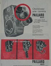 PUBLICITE PAILLARD BOLEX CAMERA C8 SL B8 L D8 L 8MM DE 1960 FRENCH AD ADVERT PUB